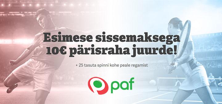 PAF Kasiino boonused